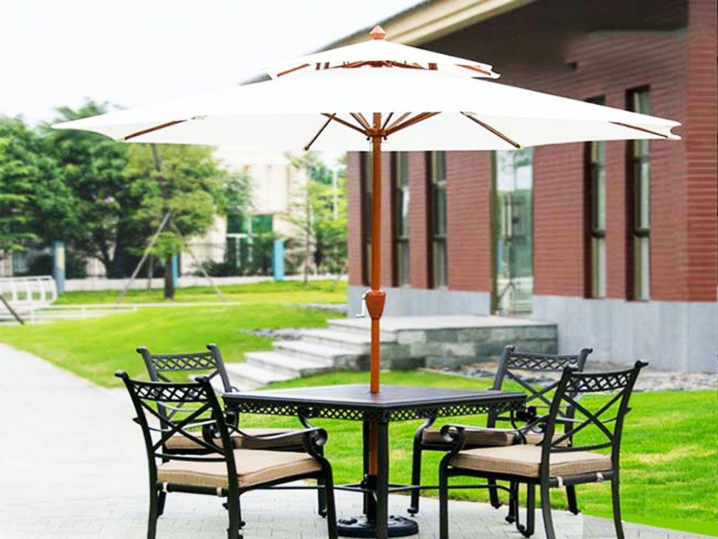 Mẫu Dù Gỗ Chính tâm Tròn 2 Tầng 3M Che Quán Cafe