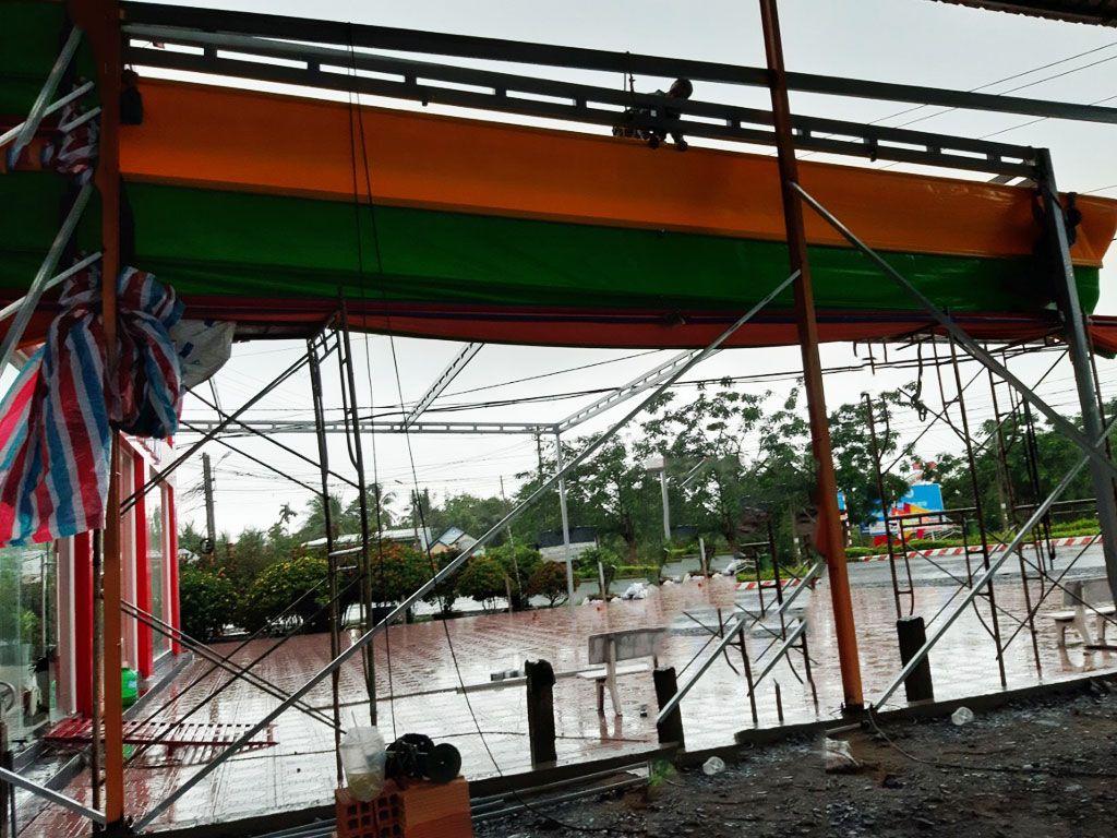 bạt mái xếp che nắng mưa, Báo giá mái xếp, bạt xếp, bạt kéo lùa lượn sóng di động giá rẻ
